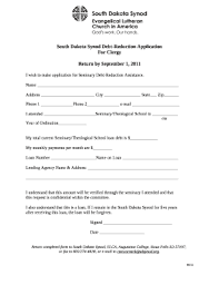 South Dakota Synod Debt Reduction Application Doc Template