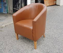 brown tub chairs faux leather x8
