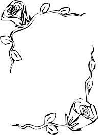 白黒モノクロの花のイラストフリー素材フレーム枠no816白黒バラ
