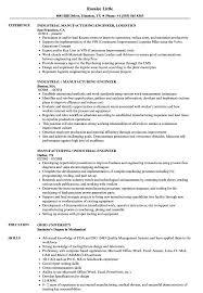 Industrial Engineer Resume Manufacturing Industrial Engineer Resume Samples Velvet Jobs