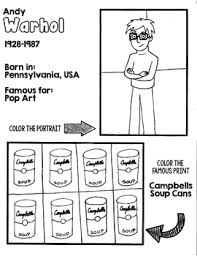 Little Artists Coloring Page Andy Warhol By Primary Painters Tpt