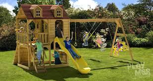 childrens wooden swing sets slide
