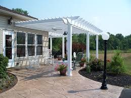 Build A Concrete Patio White Pergola Over Stamped Concrete Patio Design Ideas