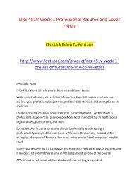 Nrs 451v Week 1 Professional Resume And Cover Letter Nrs 451v Week 1