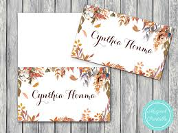 Fall Place Cards Fall Autumn Printable Wedding Name Card Labels Wedding