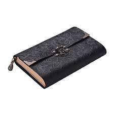handmade embossed pattern soft leather journal travel notebook with lock and key diary notepad kraft paper