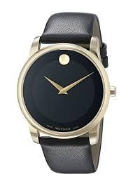 amazon com movado men s 0606876 gold tone watch black amazon com movado men s 0606876 gold tone watch black leather band watches