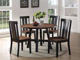 Distress Wood Brown Finish Round Dining Table 4 Side Chairs 5pc