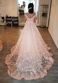 peach wedding dress. Gorgeous Lace Embroidery V neck Off Shoulder Tulle Peach Wedding