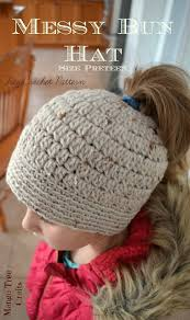 Crochet Hat Patterns Free Mesmerizing 48 Free Messy Bun Hat Crochet Patterns Make A Ponytail Beanie