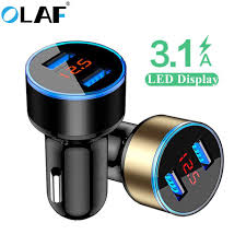 <b>Olaf</b> 5V 3.1A Dual USB Car Charger With LED Display <b>Universal</b> ...