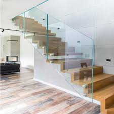 China Frameless Glass Railing Standoff Wood Step Indoor Floating Straight  Staircase - China Staircase, Straight Staircase