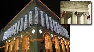building facade lighting. Installation Of Illumination The Facade University Lighting Decoration Conservatoire Building