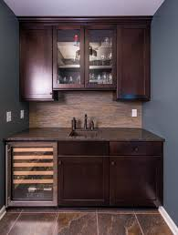 Simple Wet Bar Design With Dark Wood Shakerstyle Cabinetry Dry - Simple basement wet bar