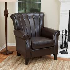 clifford channel tufted brown bonded leather club chair by christopher knight home channel tufted furniture