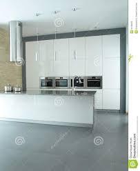 Modern Kitchen Interior Minimalist Modern Kitchen Interior In White Royalty Free Stock