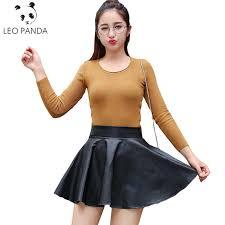 2018 new fashion women faux leather skirt high waist skater flare mini skirt flared pleated short sun127