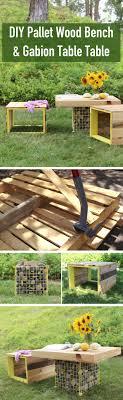outdoor pallet wood. DIY Pallet Wood Bench Gabion Table Outdoor