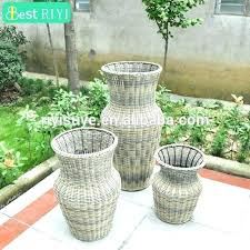 tall wicker planter round rattan resin outdoor planters decor pots 3 set of large