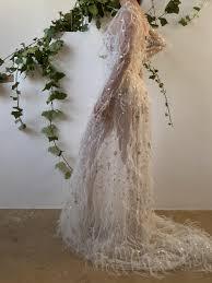 Ivory Long Sleeve Feather Dress - S/4/6 - G O S S A M E R