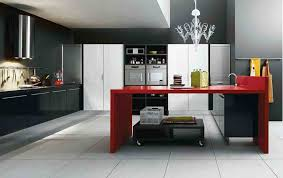 design idea classic black white kitchen modern color decorate floating counter red island acrylic chandelier glossy