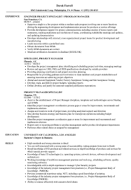 Project Manager Specialist Resume Samples Velvet Jobs