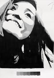 high contrast self portrait paintings black white series