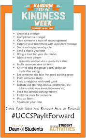 uccspayitforward to celebrate random acts of kindness across random acts of kindness list