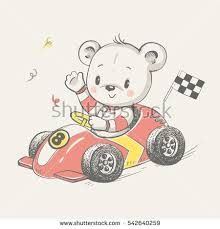 Cute little bear driving a car cartoon hand drawn vector illustration ...