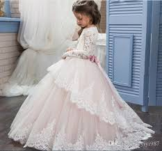 white ivory girls first communion dresses ball gown lace