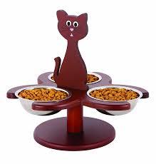 Pet Supplies : Pet Store Wood Multi-Cat Raised Feeder with 3 Metal Bowls :  Amazon.com