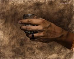 hand holding shot gl oil on canvas artist jeremiah j white