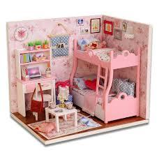 miniature doll furniture. brilliant furniture diy wood dollhouse miniature with ledfurniturecover mini pink living room  doll house and furniture e