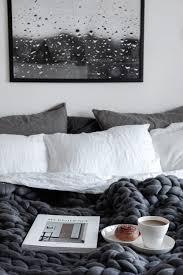 Scandinavia Bedroom Furniture Breakfast In Bed Scandinavian Grey Bedroom With Raindrops Print