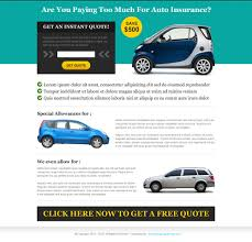previous next get instant quote for auto insurance landing page design