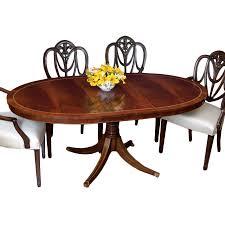 Mahogany Oval Dining Table And Heart Shield Back Chairs Dining - Shield back dining room chairs