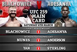 Ufc 259 time and date. Ufc 259 Adesanya Vs Blachowicz Date Uk Start Time Live Stream Free Tv Channel Undercard Ahead Of Mma Showdown