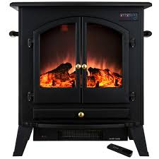 freestanding electric fireplace stove heater in black with vintage glass door and