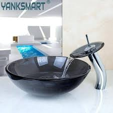 waterfall faucets for vessel sinks us round bathroom sink faucet vessel sink tempered glass drain combo