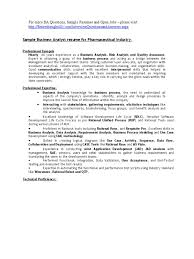 Business Analyst Sample Resume For Pharmaceutical Companies Use