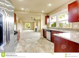 Bright Kitchen Bright Kitchen Room With Granite Tops And Burgundy Cabinets Stock