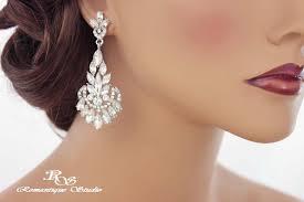 crystal bridal earrings art deco vintage style 1920s bridal jewelry wedding jewelry rhinestone chandelier earrings marquise crystals 1261