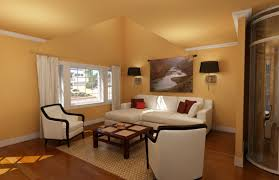 wonderful simple living room ideas with orange scheme wall color using black round lighting in the beautiful simple living
