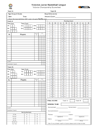 Basketball Score Sheets Junior Basketball Score Sheet Templates At