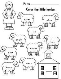 Small Picture Mary Had a Little Lamb color words sheet Kindergarten ELA