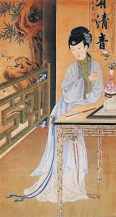 chinese paintings from qing dynasty of ancient beauties in their daily livings the artworks were painted on folding screens x and are curly d in