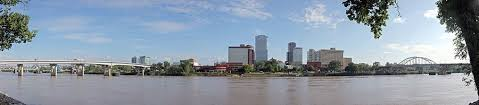 the skyline of little rock viewed from the north bank of the arkansas river