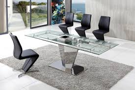 dome glass dining table with amari dining chairs set