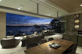 Living Room With Beach View At Modern Waterfront House Design By