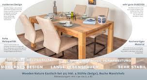 Wooden Nature Esstisch Set 315 Inkl 4 Stühle Beige Buche Massivholz 160 X 90 L X B